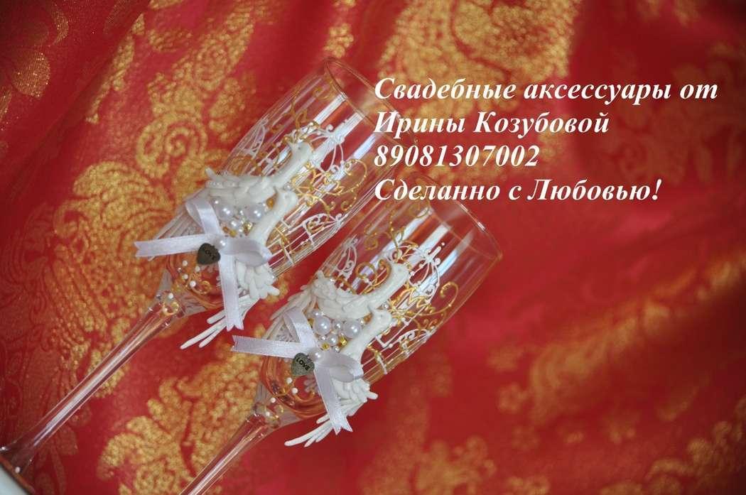 """Свадебные бокалы """"Винтажные птицы"""" - фото 7378660 Свадебные аксессуары от Ирины Козубовой"""