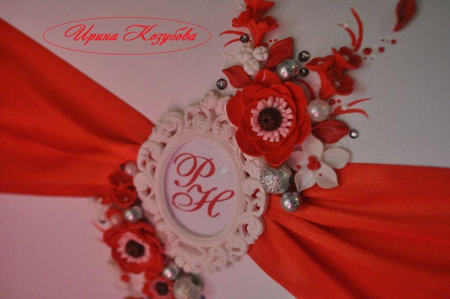 """Свадебный набор """"Афродита"""" в красно-белом цвете с рамками и инициалами. - фото 7550206 Свадебные аксессуары от Ирины Козубовой"""