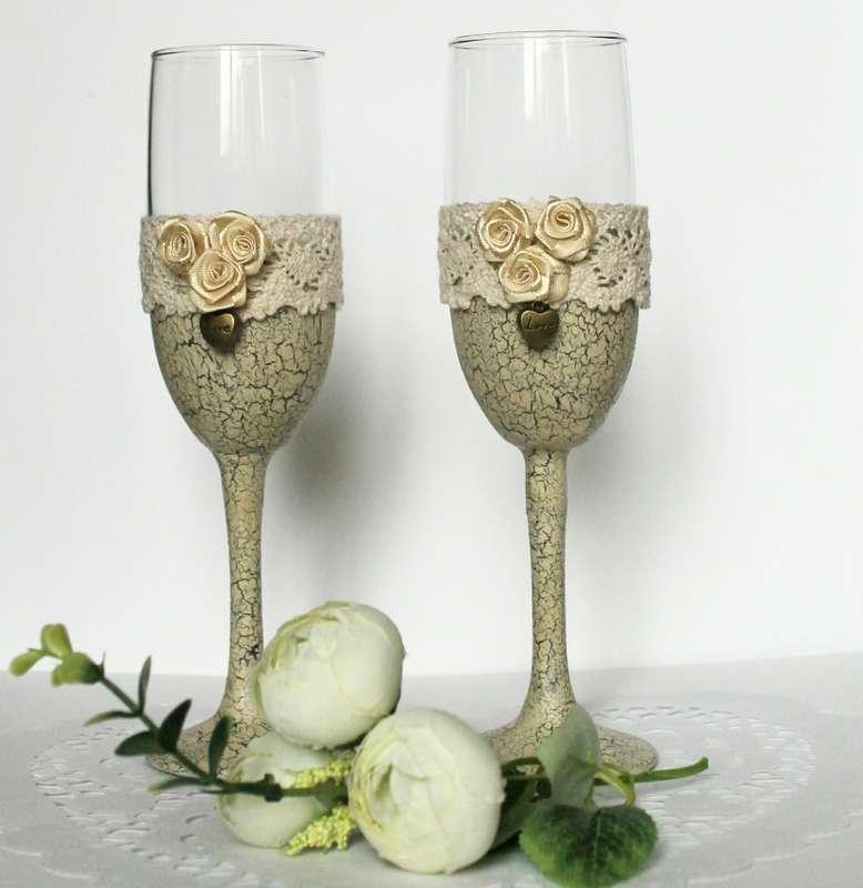 Бокалы в стиле шэбби - фото 7452052 Свадебные аксессуары, сувениры Cheers workshop