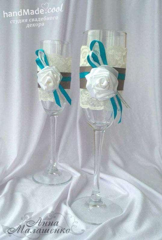 Свадебные бокалы для оформления и украшения стола на свадьбу, ручная работа на заказ - фото 7676378 Студия свадебного декора Handmade