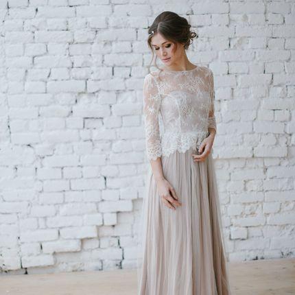"""Свадебное платье """"Бежевая дымка"""""""