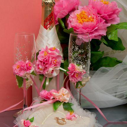 Комплект свадебных аксессуаров в розовой гамме