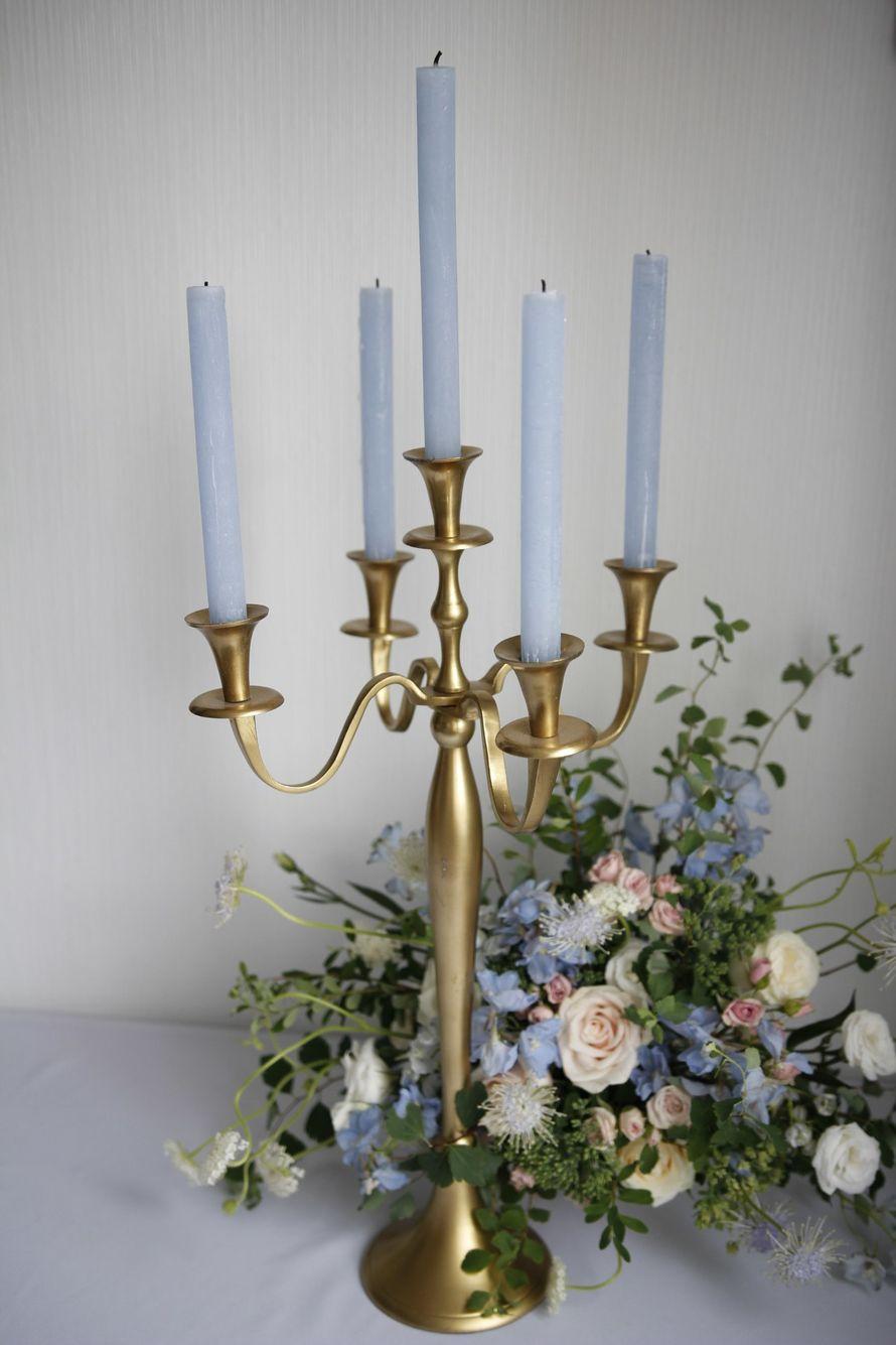 Высокие канделябры на 5 свечей, матовое золото