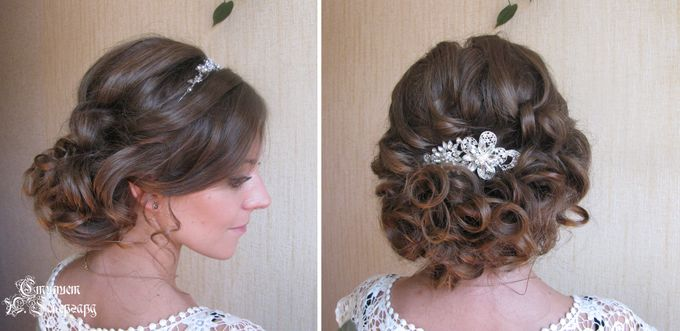 Прическа для волос до плеч своими руками на свадьбу