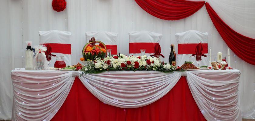 Оформление залов тканями и цветами