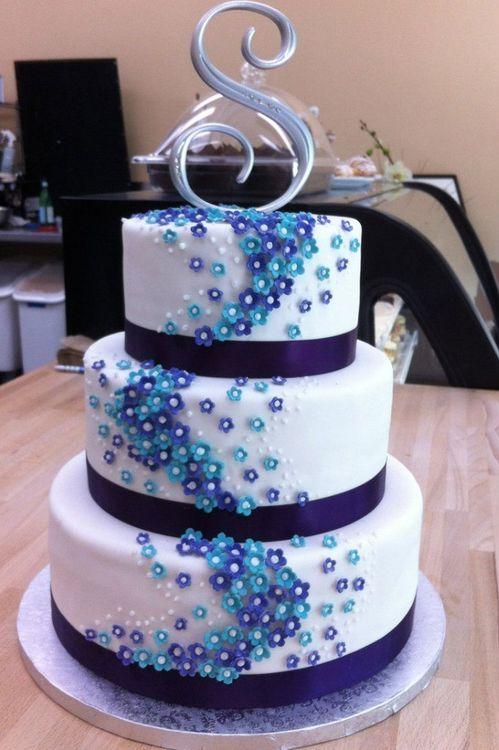 Свадебный торт сине белый фото