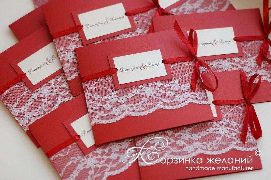 Красно-белые пригласительные на свадьбу своими руками