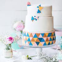 """Свадебный торт, стиль """"Геометрия"""". Оформление мастика."""