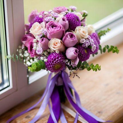 Букет невесты с сиреневыми пионовидными розами