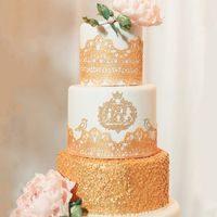 Монограмма на свадьбу на торте