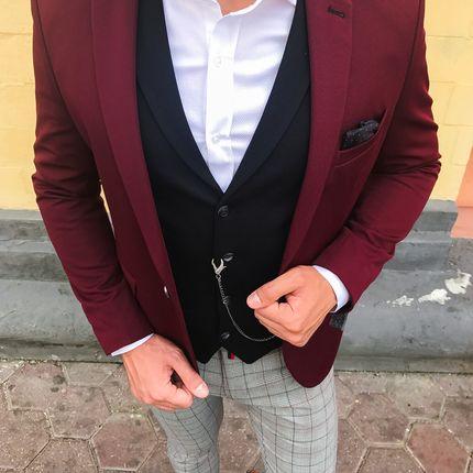 Пиджак винного цвета