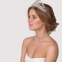 Свадебная корона с жемчугом, горным хрусталем и кристаллами