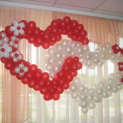2 сердца из шаров