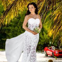 свадебная церемония в Доминикане в стиле шебби-шик, платье невесты