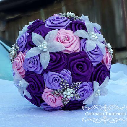 Брошь букет фиолетовый