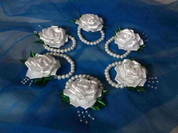 Украшения из атласных лент для невесты