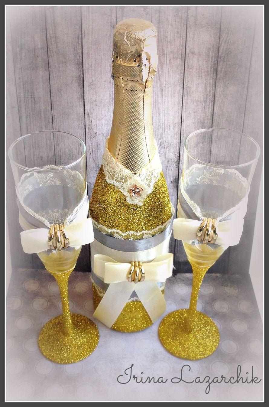 Свадебные  бокалы и шампанское