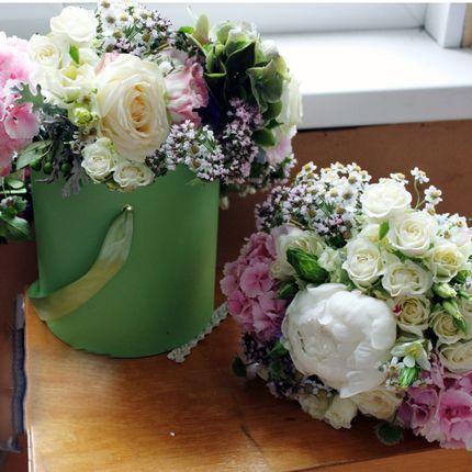 Букет невесты + цветы в шляпной коробке