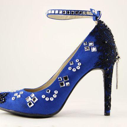 Синие вечерние или свадебные туфли