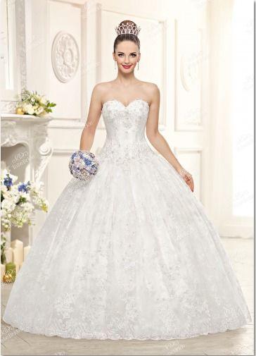 """Роскошное  свадебное  платье . Богато  расшитый   лиф  и  пышная   юбка,  отделанная  кружевом - это   платье  словно  наколдовано  доброй  феей!В  нём  любая  невеста  почувствует  себя  героиней   из   волшебной  сказки!Ткани  и  отделка:   атлас,  фати - фото 11963814 Интернет-магазин свадебных платьев """"Fleur d'Orange"""""""