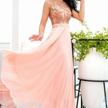 Персиковое платье подружки невесты