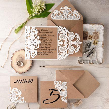 Свадебные приглашения резные, цена за 1 шт