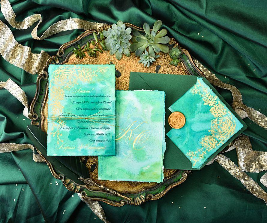 Свадебные приглашения в акварельном оформлении, с цветным конвертом - фото 15487946 Kashemirpink - аксессуары и полиграфия