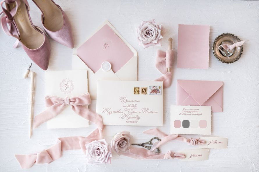 комплект свадебной полиграфии( приглашение, конверт,  карточка, рассадочная лентанаш номер 8-918-628-628-7 - фото 16401740 Kashemirpink - аксессуары и полиграфия
