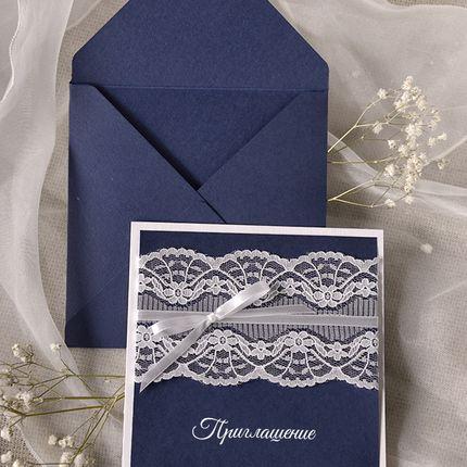 """Свадебные приглашения """"Синее -белое"""""""