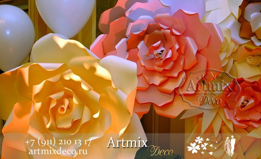 """Фотозона в аренду из больших и разноцветных  цветов.  - фото 12373290 Дизайн-студия декора и флористики """"Артмикс"""""""