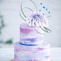 Космический свадебный торт с астрой из сахарной пасты