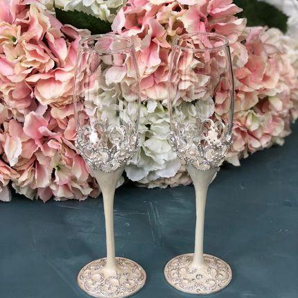 Свадебные бокалы с эмалью Утро невесты