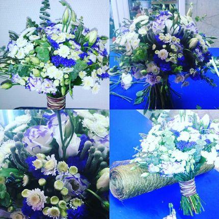 Букет невесты из хризантем и брунии