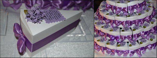 Бонбоньерка в виде торта своими руками