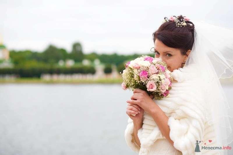 Круглый букет невесты из белой гипсофилы, белых и розовых роз - фото 61574 дубравка