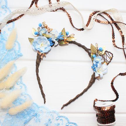 Ободок цветочные ушки голубые с золотом
