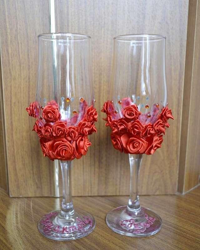 Фото 13440562 в коллекции Фужеры, свадебное шампанское, подушечка для колец, корзиночка - Оформители Wedding Decor73