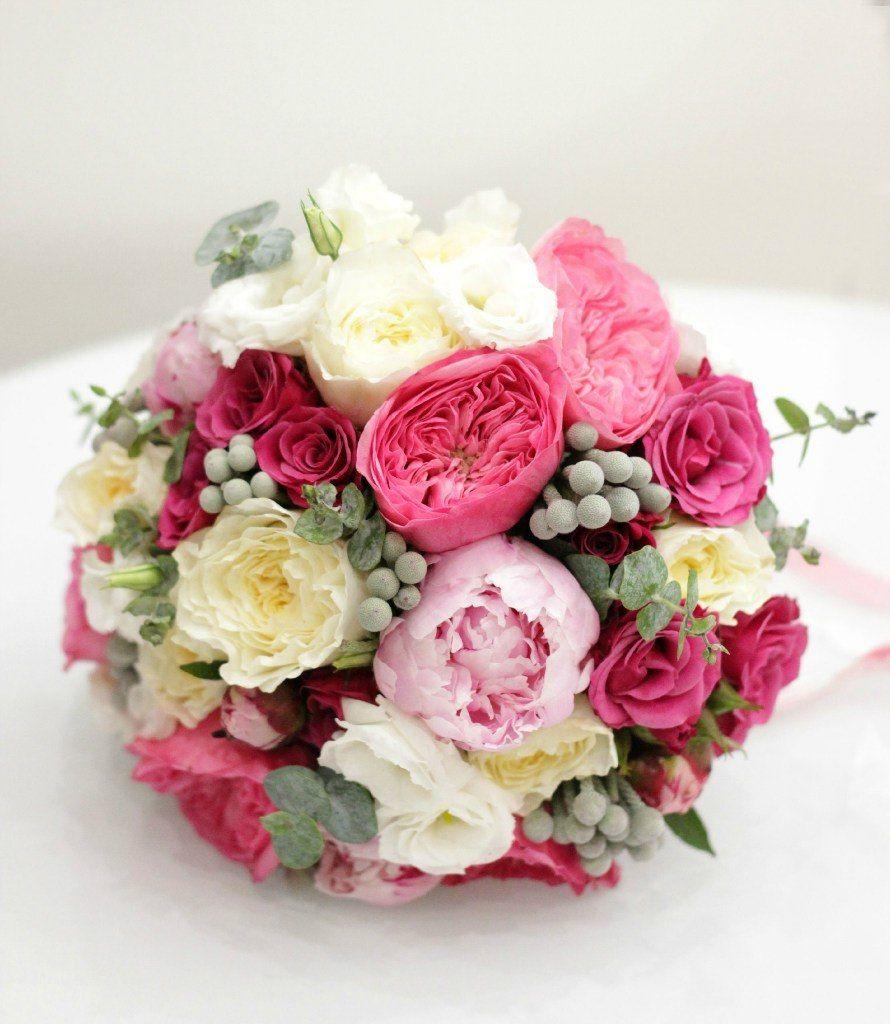 Букет невесты с малиновыми розами, камелия цветы доставкой