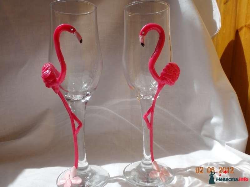 Прекрасные фламинго- всего за 400 руб пара. - фото 495444 Свадебные бокалы ручной работы - Олеся
