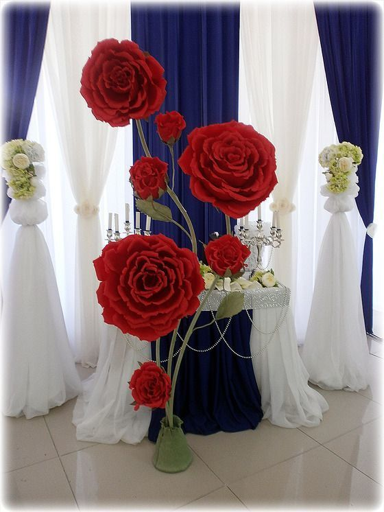 Цветы из бумаги для оформления зала