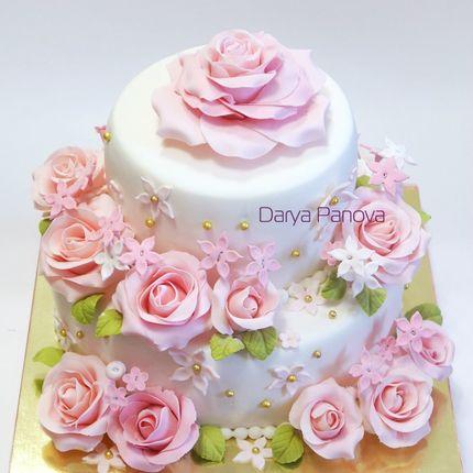 Свадебный торт с розами, цена за 1 кг