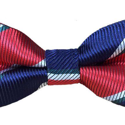 Детский галстук-бабочка темно-синяя с красно-синими полосками