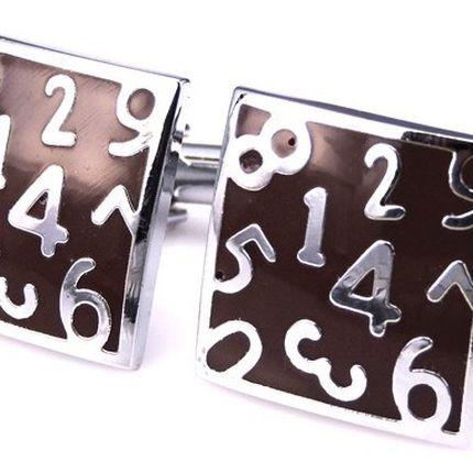 Запонки классические коричневые с цифрами