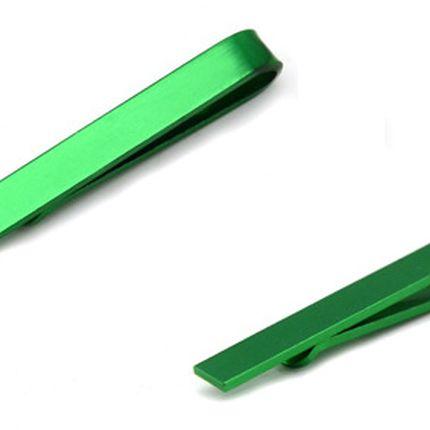 Зажим для галстука однотонный изумрудный