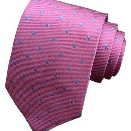 Галстук классический розовый в голубой горошек