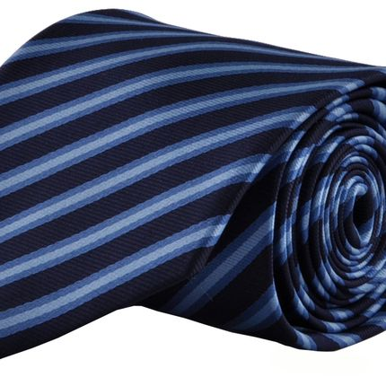 Галстук темно-синий в косую голубую широкую полоску