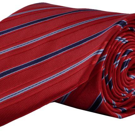 Галстук классический красный в сине-голубую полоску