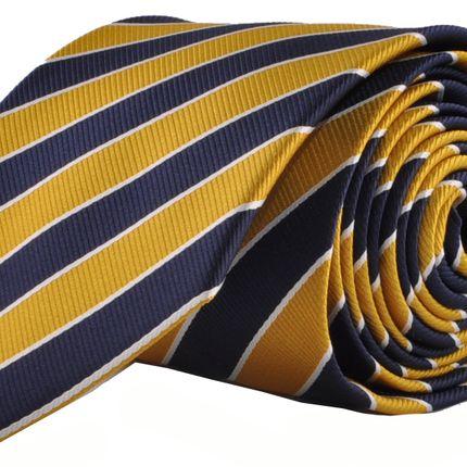 Галстук классический в желто-синюю полоску