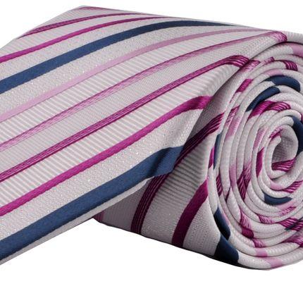 Галстук классический белый в сине-фиолетовую полоску
