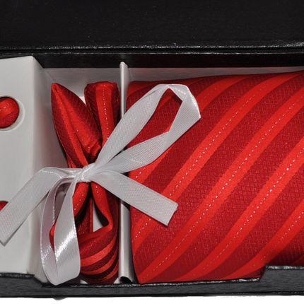 Комплект: галстук, запонки, платок красный в полоску
